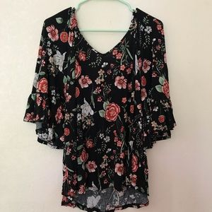 Bobeau Black Floral Off Shoulder Bell Sleeve Large